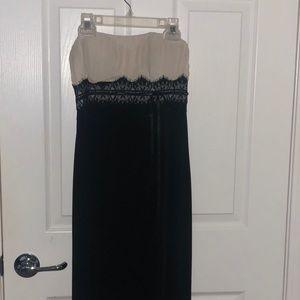 BCBG Black and White Strapless Dress